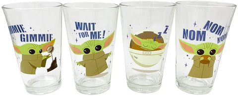 Grogu Baby Yoda 16oz. Glass 4 Pack