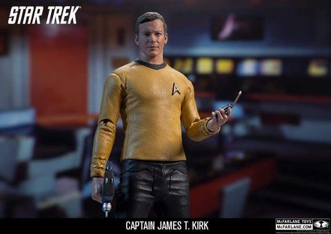 "Star Trek Captain James T. Kirk 7"" Figure by McFarlane Detailed 7-inch scale collectible Captain James T. Kirk action figure sculpted from images of actor William Shatner Figure includes Phaser, communicator and Phaser rifle Designed with 12+ points of articulation for dynamic posing Figure includes a disc display base and showcased in window box packaging"