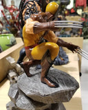 The X-Men's resident berserker joins the Marvel Gallery line of PVC dioramas! This 9-inch scale sculpture of Wolverine shows the hero in his classic brown costume, perched on a rock formation with claws extended, ready to tear into an opponent. Featuring detailed sculpting and collectible-quality paint applications, this sculpture comes packaged in a full-color window box.