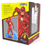 This 9-inch scale PVC the Flash racing across a wave is the latest in the DC Gallery line. Made from high-quality plastic, this detailed sculpture delivers the look of a resin statue at a fraction of the price, and is in scale to all Gallery and Femme Fatales PVC dioramas. Flash Fact: It comes packaged in a full-color window box!  The Flash gallery statue is designed by Caesar. Sculpted by Joe Menna.