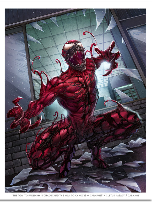 """The Way To Freedom Is Chaos"" Carnage Print By Dominic Glover"