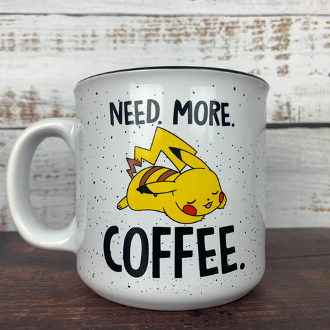 "Pikachu ""Need More Coffee"" 20oz. White Ceramic Campfire Mug"