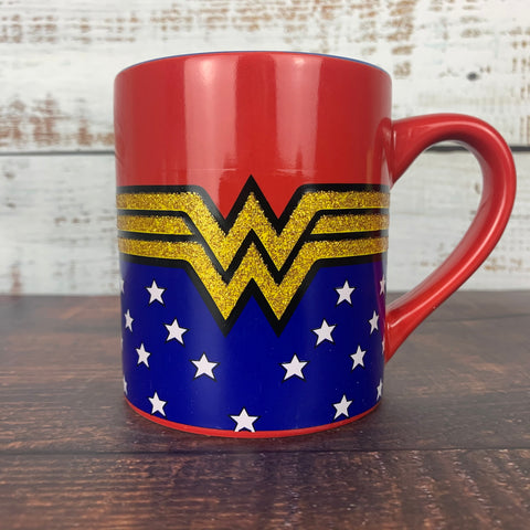 Wonder Woman Comic Glitter Logo 14oz. Ceramic Mug