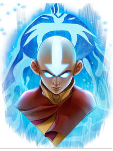 "Aang - Ocean Spirit Avatar State  Legacy Series Art print by Dominic Glover  Licensed Avatar: The Last Airbender art print Print Size: 12"" x 16"" on Premium Paper"