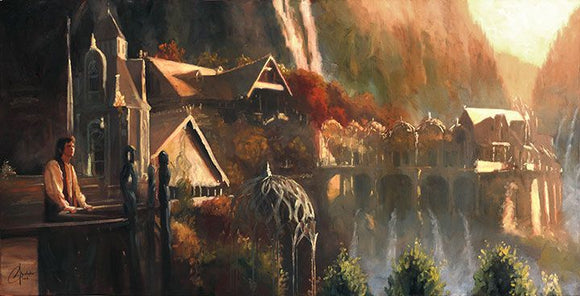 Frodo in Rivendell, or the elven city of Imladris, from The Lord of the Rings.  Art print by Christopher Clark  Print Size: 10
