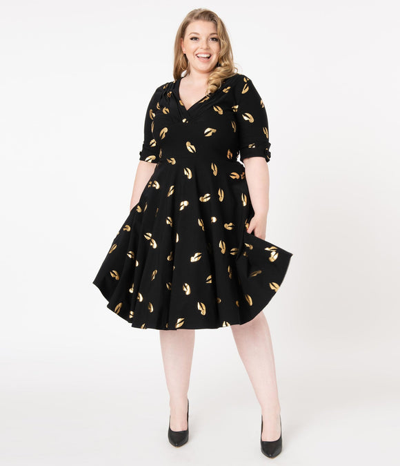 Harry Potter Golden Snitch Print Delores Swing Dress by Unique Vintage  You're hard to catch, darling! An enchanting dress from Unique Vintage in collaboration with Harry Potter, the Delores is delightful in 1950s vintage appeal with gleaming printed golden snitches throughout the black backdrop for enchanting vintage charm!