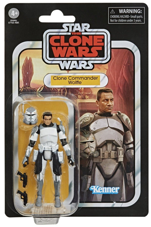 The Vintage Collection is here! Hasbro's famous super-articulated 3 3/4-inch action figures have returned on retro-styled packaging recalling the original Kenner Star Wars action figures. The Star Wars The Vintage Collection Clone Commander Wolffe 3 3/4-Inch Action Figure is ready to bring the hurt to the separatists! At least until Order 66 is issued.