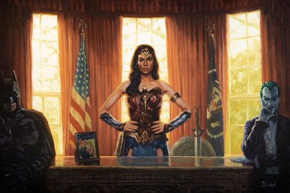 Wonder Woman in the Oval Office Art Print By Bucket Art  What if Diana Prince were Madam President of the USA? Wonder Woman stands at the Resolute Desk in the Oval Office, continuing to fight for truth, love, and justice.  Wonder Woman wears her iconic armor. Batman and The Joker are seated on each side of her desk symbolizing bipartisanship. Look for the