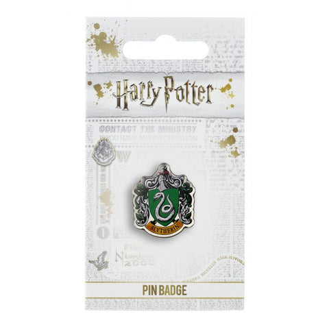 "Slytherin House Shield Crest Pin Badge  The Crest of the famous Hogwarts House, founded by Salazar Slytherin  This Harry Potter Pin Badge has been created using the official style guide from Warner Bros.  Enamel Pin Details:  Around .75"" tall and .5"" wide (20mm x 16mm) Beautiful colors protected by a high-gloss finish Enamel pin arrives on a printed Harry Potter card backer Quality metal badge pin with butterfly clutch backing"