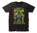 """And Hulk... Smash!""  From our Marvel comic style series comes this weathered green on black distressed t-shirt featuring Bruce Banner's smashing transformation from scientist to the Incredible Hulk. This unisex fit t-shirt is perfect for any Marvel fan.  Official Marvel apparel. Cotton blend shirt. Traditional unisex fit t-shirt with standard adult sizing. Machine wash cold with like colors, tumble dry low. Available in sizes S-XXXL."