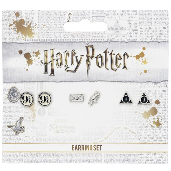 Harry Potter Platform 9 3/4, Hedwig, and Deathly Hallows Earring Set