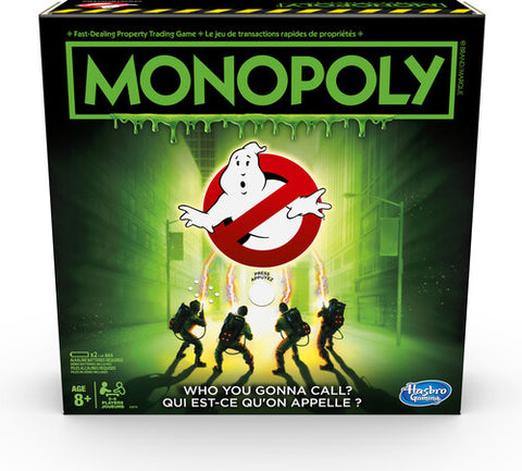 In this Monopoly Board Game: Ghostbusters Edition, players travel around the board buying up Ghostbusting contracts. The game features scenes, characters, tokens, and artwork inspired by the original Ghostbusters movie. Landing on a Supernatural Entity space has players teaming up to battle Slimer, Stay Puft, Library Ghost, or Vinz Clortho to save the city! The last player with petty cash when all other players have gone bankrupt wins!