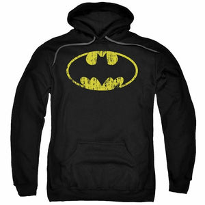 To the Batmobile!  A Batman Distressed Logo Unisex Pullover Hooded Sweatshirt