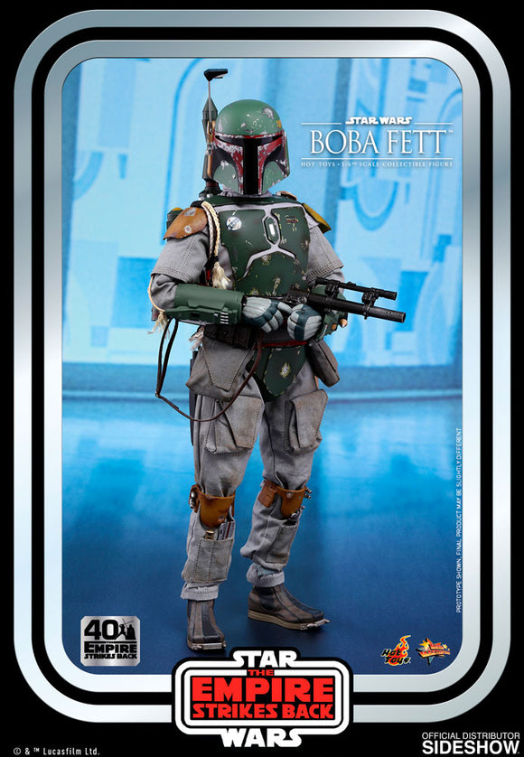 *Pre-Order* Boba Fett Empire Strikes Back 40th Anniversary Figure by Sideshow Hot Toys  Armed in customized Mandalorian™ armor, dangerous weaponry and highly trained combat skills, Boba Fett has earned a notorious reputation as one of the deadliest bounty hunters in the galaxy as he takes on contracts from the criminal underworld and the Galactic Empire.