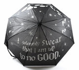 "Marauder's Map Color-Changing Art Umbrella -  This Harry Potter umbrella features white ""I Solemnly Swear I am up to no good"" print when dry, and reveals color and Marauders Mapart when wet.  Compact, manual open umbrella with rain sleeve and wrist strap."