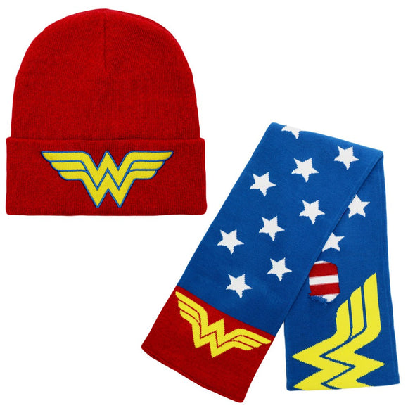 Wonder Woman Beanie and Scarf Set