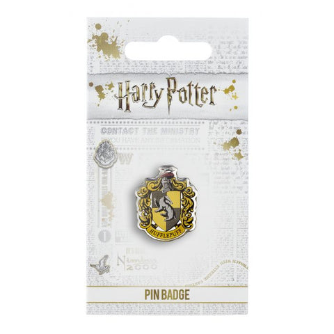 "Hufflepuff House Crest Pin Badge  The Crest of the famous Hogwarts house, founded by Helga Hufflepuff  This Harry Potter Pin Badge has been created using the official style guide from Warner Bros.  Enamel Pin Details:  Around .75"" tall and .5"" wide (20mm x 16mm) Beautiful colors protected by a high-gloss finish Enamel pin arrives on a printed Harry Potter card backer Quality metal badge pin with butterfly clutch backing"