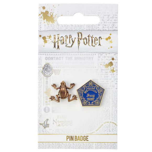 Chocolate Frog design.  The Chocolate Frog was the magical confectionery, first seen in Harry Potter and The Philosophers Stone that came packaged with enchanted collectable cards featuring famous Witches and Wizards.  Enamel Pin Details:  Around .75