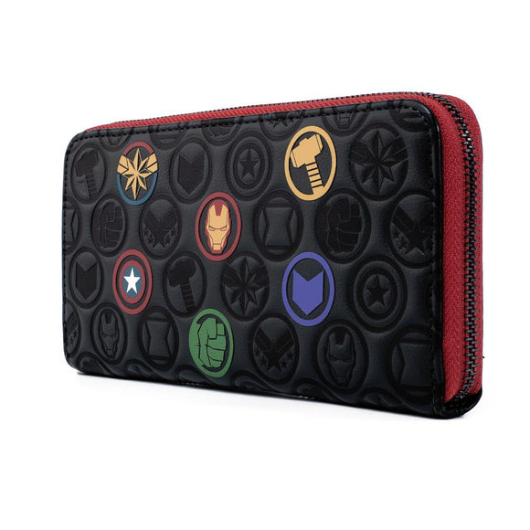 Marvel Avengers Debossed Icons Zip Wallet by Loungefly