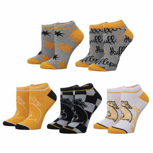 """Ten socks for Hufflepuff!""  Harry Potter Gryffindor Hogwarts House Socks 5-Pair Set featuring five Huffle-Perfect Hogwarts House inspired ankle sock designs in the Hufflepuff House colors. Fabrication: 98% Polyester, 2% Spandex Sizing: Sock Size 9-11/Fit Shoe 5-10"