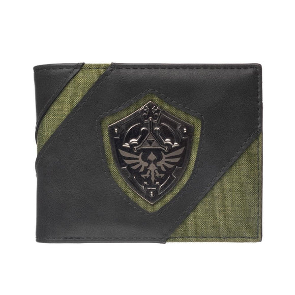 The Legend of Zelda Hylian Shield unisex bi-fold wallet.  An olive green canvas wallet with faux leather accents, metal shield emblem, and interior card slots.