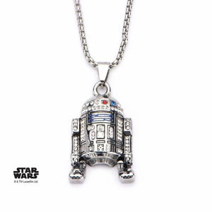 R2-D2 Pendant with Gem Necklace Sterling Silver
