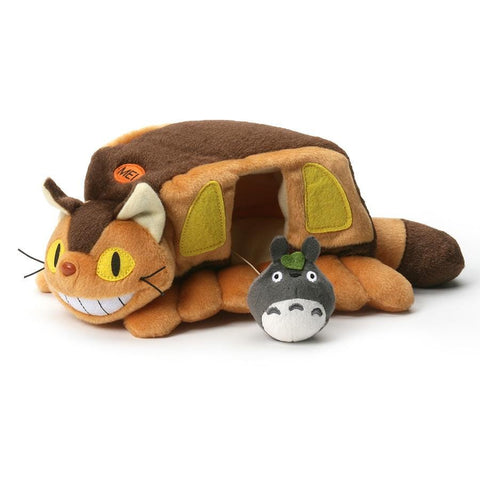"Enjoy this high-quality authentic Studio Ghibli plush, previously only sold in Japan! This soft but sturdy plush features Catbus and an attached Mini Gray Totoro who comfortably sits inside the bus or can be placed outside . Very cute handcrafted aesthetic. Catbus measures approx. 9"" long with a 2"" Totoro."