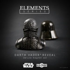 Darth Vader deluxe, 2-piece magnet set made by the Regal Robot team. Inspired by the stunning first glimpse of Darth Vader beneath his mask in the meditation chamber scene of Star Wars: The Empire Strikes Back, both the helmet and the Anakin Skywalker head bust have magnets allowing them to be displayed with the helmet hovering over top, or lowered to complete the Sith Lord's appearance.
