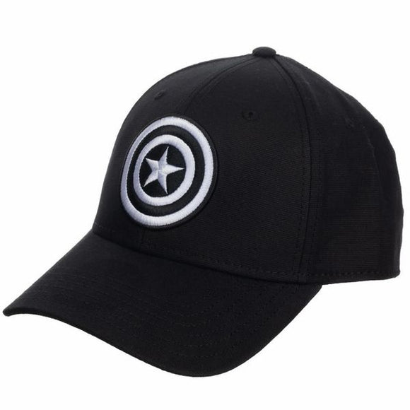 Captain America Black Embroidered Flex Fit Cap
