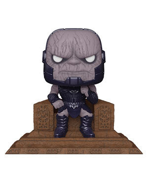 Darkseid on his throne from Zac Snyder's Justice League Snyder Cut DC Funko Pop!  Well known within the fan and collector world—FunkoPop! vinyl figurines have become a fandom favorite unto themselves!  Most FunkoPop! figures measure approximately 3 3/4-inches tall. With their stylized animated eyes, large heads, and vibrant full-color window packaging, Funko from your favorite fandom are a welcome addition to any space!
