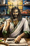 """The King's Sushi""  DC Comics Aquaman Parody Art Print by Ashley Raine, celebrating Jason Momoa's Arthur Curry (Aquaman)"