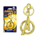 "A large metal key ring of the Avengers logo as seen in the Marvel Studios cinematic films.  This version of the Avengers emblem has been treated in a brilliant gold-tone chrome coating in honor of Avengers: Endgame. The keychain comes with matching metal key ring and clip.  Details:  Large Marvel Avengers metal keychain Avengers ""A"" measures over 2 inches long Sturdy metal keychain includes matching key ring and clip Shiny gold-tone chrome coating"