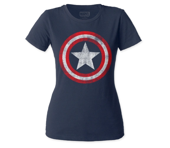 Captain America Ladies Distressed Shield Shirt