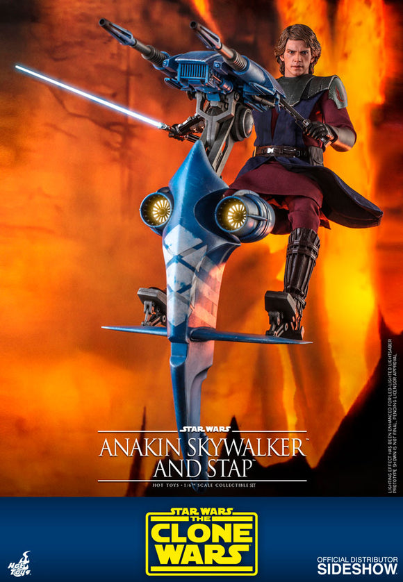 Star Wars Clone Wars Anakin Skywalker & STAP (Single Troop Aerial Platform) Sixth Scale Figure by SideshowHot Toys