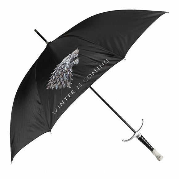 Winter is Coming.   And so are the rains!  Be prepared with this incredible sword-hilt style umbrella crafted in the shape of Longclaw from A Game of Thrones. A slipcover with strap is included.  Stark Branded Canopy 3d Molded Handle Mimicing Longclaw Sword Handle Umbrella Canopy Size: 36