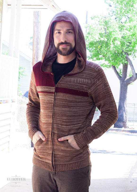 The Galatic Bromance Knit Hoodie by Elhoffer Design - A subtle Star Wars inspired design inspired by Poe Dameron and Finn.  Unisex Fit Front Zipper Thumbholes Knit Hoodie Front Pockets Lighter Knit than our other knit hoodies 100% Acrylic for the SDCC launch, Acrylic/Poly/Cotton/Lycra blended yarn for our reorder.  Made in the USA in limited runs Colors may vary due to monitor settings