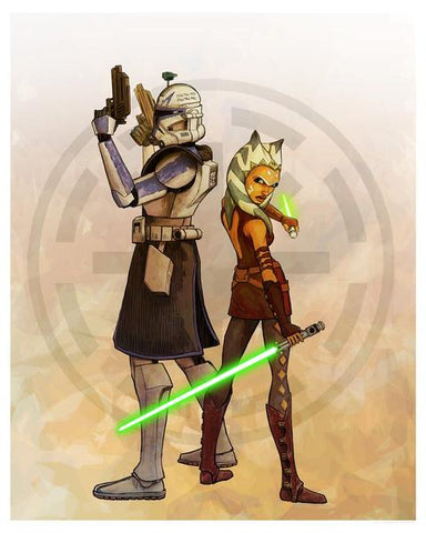 """Who's the Youngling?"" by Brent Woodside  Star Wars: Rebels inspired print featuring Ahsoka and Rex   Fine Art Lithograph edition: - 395 piece hand-numbered edition - measures 16"" x 20"" - comes with certificate of authenticity"