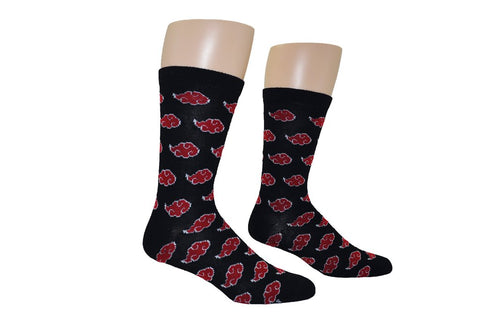 Akatsuki Symbol Crew Socks  Akatsuki Red Clouds from Naruto mean only one thing - bad guys.  Join up with the secret Akatsuki organization with these officially licensed Naruto socks, featuring a pattern of Akatsuki clouds against a black background.