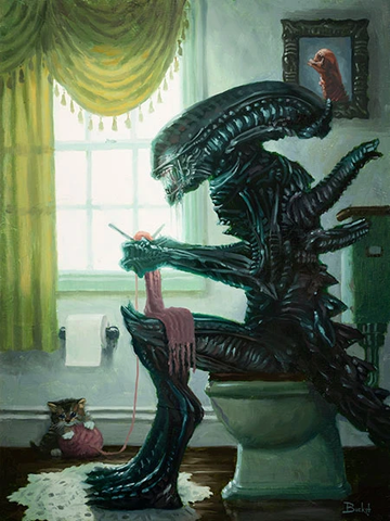 """Dropping Acid"" Alien Xenomorph Parody Art Print by Bucket Art Details to Enjoy: Kitten playing with yarn while Alien knits, and the Alien baby painting in the background. Print Size: 12"" x 16"" on Premium Paper Made entirely in the USA"