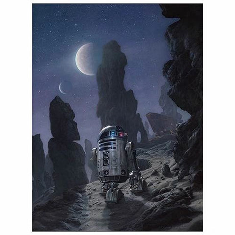"""Artoo's Lonely Mission""  By artist Jerry VanderStelt   In honor of R2-D2's lonely journey on Tatooine.   Limited Edition Giclee on Paper 150 piece hand-numbered edition Comes with Certificate of Authenticity Measurements: 17"" x 22"" (paper size), 15"" x 20"" (image size)"