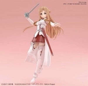 From Bandai Hobby. Asuna from Sword Art Online (SAO) appears in the Figure-rise Standard line in her iconic Knights of the Blood character outfit!  This kit features easy assembly and a dual layer construction using red parts underneath translucent skin parts to recreate the natural color of human skin! Asuna features many areas of movement and new materials are used for the hair allowing separate articulation and positioning!  Her sword Lambent Light is included