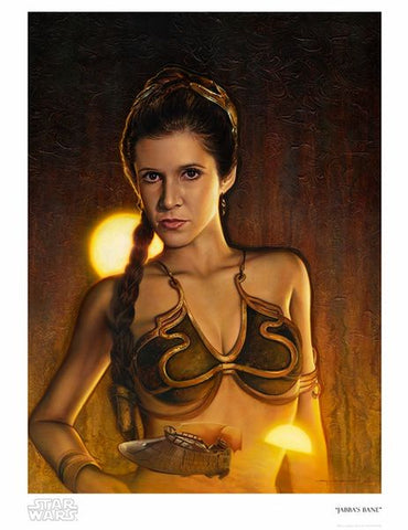 """Jabba's Bane""  By artist Jerry VanderStelt  In celebration of Leia Organa in Star Wars: The Return of the Jedi.   Limited Edition Giclee on Paper 150 piece hand-numbered edition Comes with Certificate of Authenticity Measurements: 17"" x 22"" (paper size), 14.7"" x 20"" (image size)"