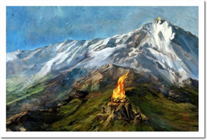 """The Beacons of Gondor""  The Lord of the Rings art print by Cliff Cramp featuring the lighting of the beacons, when Gondor called for aid.   Fine art giclee on paper 18 x 12 inches Hand Signed Artist Proof"