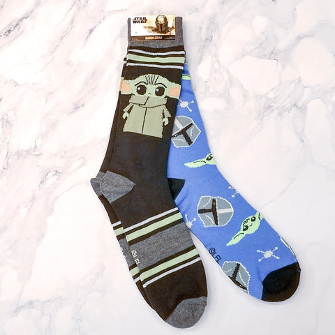 Baby Yoda Mandalorian Helmet & The Child Black/Blue Crew Socks 2 Pair Set
