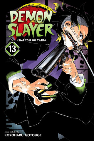 Demon Slayer Manga Vol. 13 paperback anime book.   The strange shape-shifting demons Hatengu and Gyokko attack Tanjiro and his friends in the hidden village of swordsmiths. The Mist Hashira, Muichiro Tokito, engages the demons, but he'll need some help from Tanjiro and another Demon Slayer, Genya. It's bad enough that they have to fight two upper-rank demons, but can they handle a foe who can split itself into four separate bodies and regenerate almost instantly?
