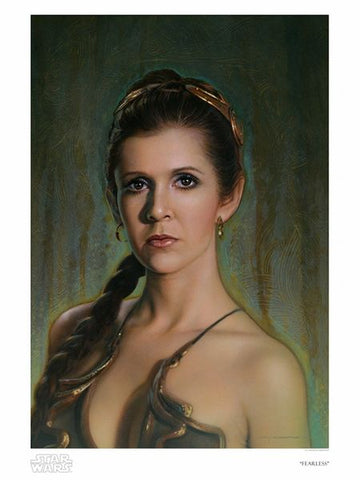 """Fearless"" by Jerry Vanderstelt  In loving celebration of our Star Wars Princess (and General) forever, Leia Organa.   Limited Edition Giclee on Paper Art Print 50 piece hand-numbered edition Arrives with Certificate of Authenticity Measurements: 18"" x 24"" (paper size), 14.9"" x 21.7"" (image size)"