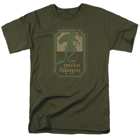 A Hobbit's favorite, brought to you in standard human sizing! This olive-toned The Lord of the Rings t-shirt is just as if it's arrived straight from the Green Dragon Inn in the Shire.   Details: Fully authorized The Lord of the Rings apparel 100% Cotton High Quality Pre Shrunk Machine Washable T Shirt Comfortable adult unisex fit shirt with standard sizing Available in sizes X-XXL