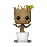 The adorable dancing baby Groot from Guardians of the Galaxy is larger than life!  This Guardians of the Galaxy Dancing Groot 18-Inch Pop! Vinyl Figure measures approximately 18-inches tall. Arrives packaged in a full color closed box.