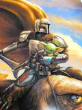 The Mandalorian and Baby Yoda Art Print by Dominic Glover