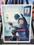 """Dropping a Bounty"" Parody bathroom art print by Bucket. Boba Fett: the original Mandalorian himself is taking a short break in this hilarious bathroom art print by Bucket Art."